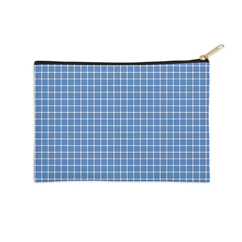 Dotted Grid Blue Accessories Zip Pouch by Project M's Artist Shop