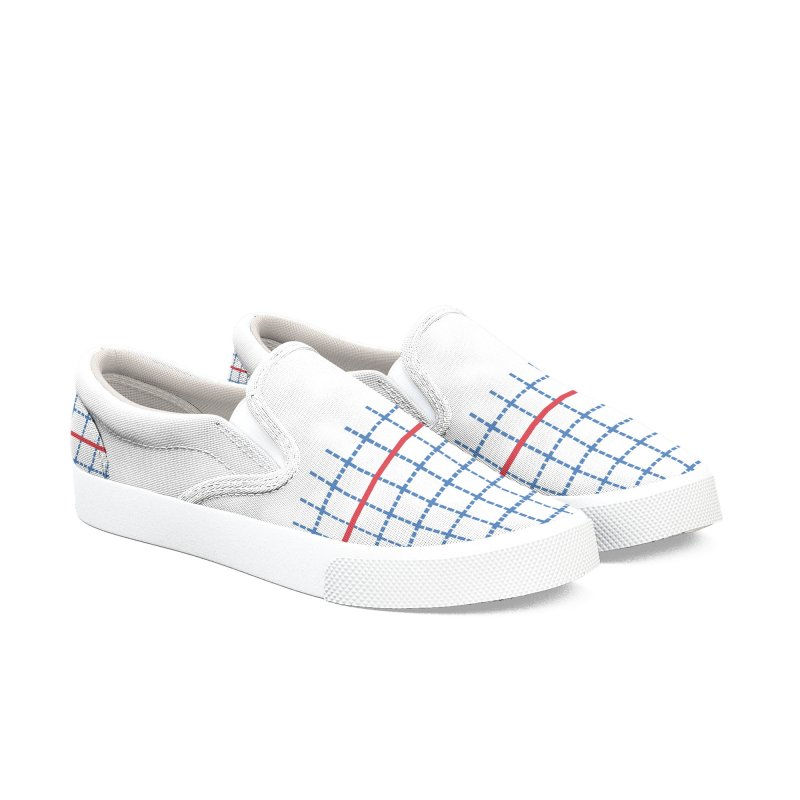 Dotted Grid Boarder Red White and Blue Women's Slip-On Shoes by Project M's Artist Shop