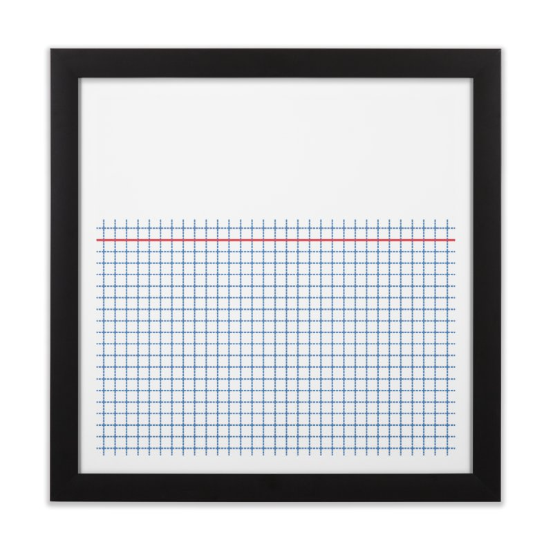 Dotted Grid Boarder Red White and Blue Home Framed Fine Art Print by Project M's Artist Shop