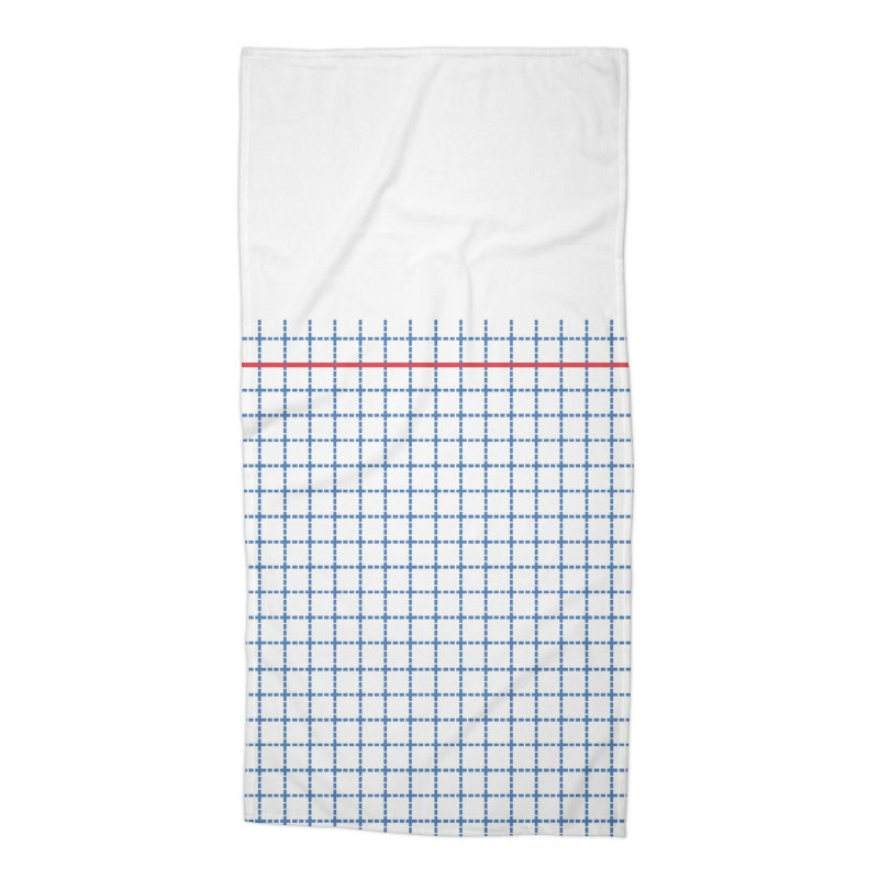 Dotted Grid Boarder Red White and Blue Accessories Beach Towel by Project M's Artist Shop