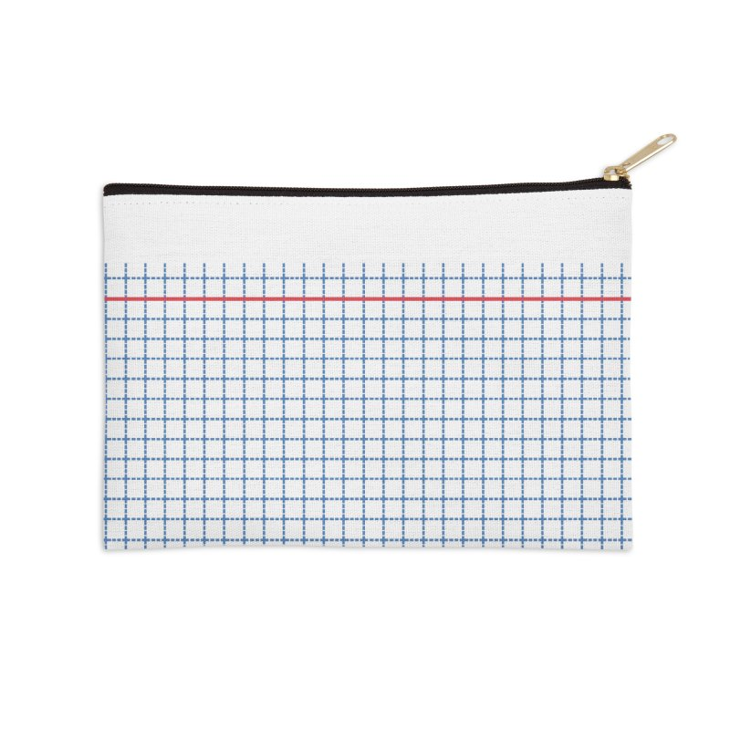 Dotted Grid Boarder Red White and Blue Accessories Zip Pouch by Project M's Artist Shop
