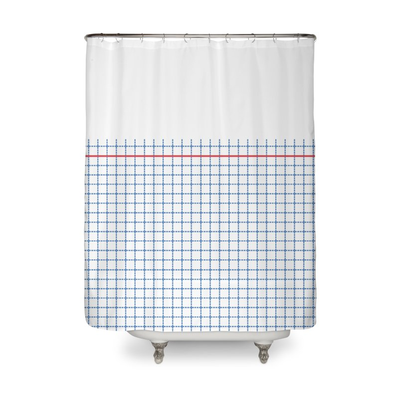 Dotted Grid Boarder Red White and Blue Home Shower Curtain by Project M's Artist Shop