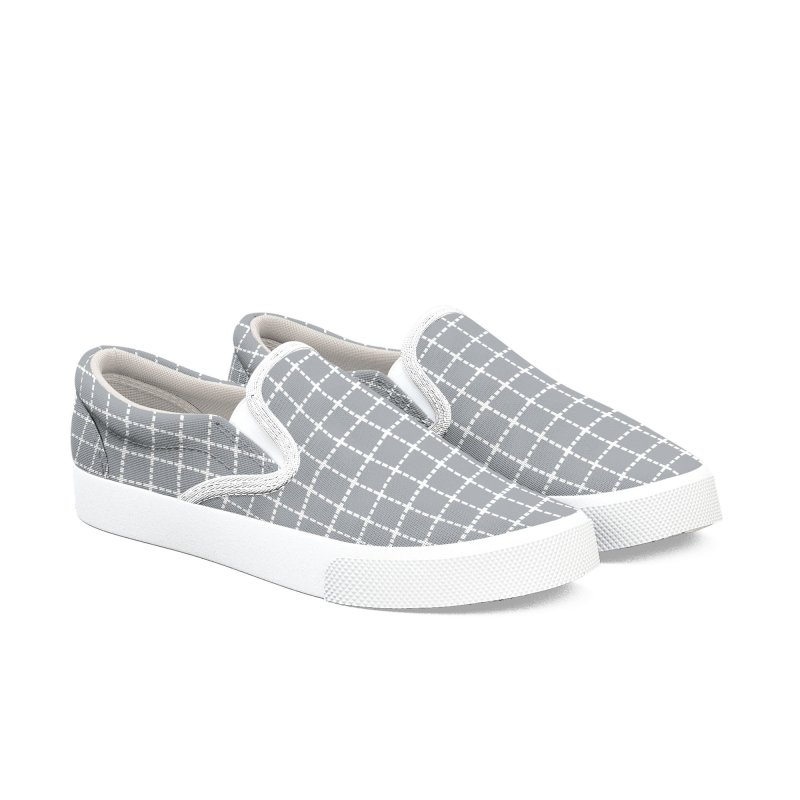 Dotted Grid Grey Women's Slip-On Shoes by Project M's Artist Shop