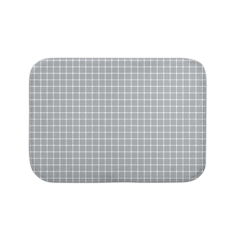 Dotted Grid Grey Home Bath Mat by Project M's Artist Shop