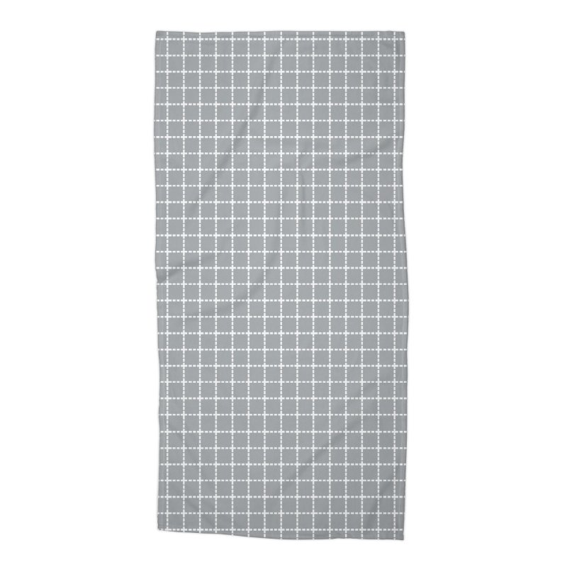 Dotted Grid Grey Accessories Beach Towel by Project M's Artist Shop