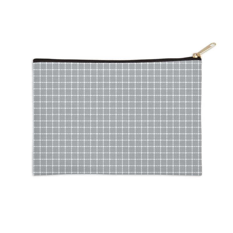 Dotted Grid Grey Accessories Zip Pouch by Project M's Artist Shop