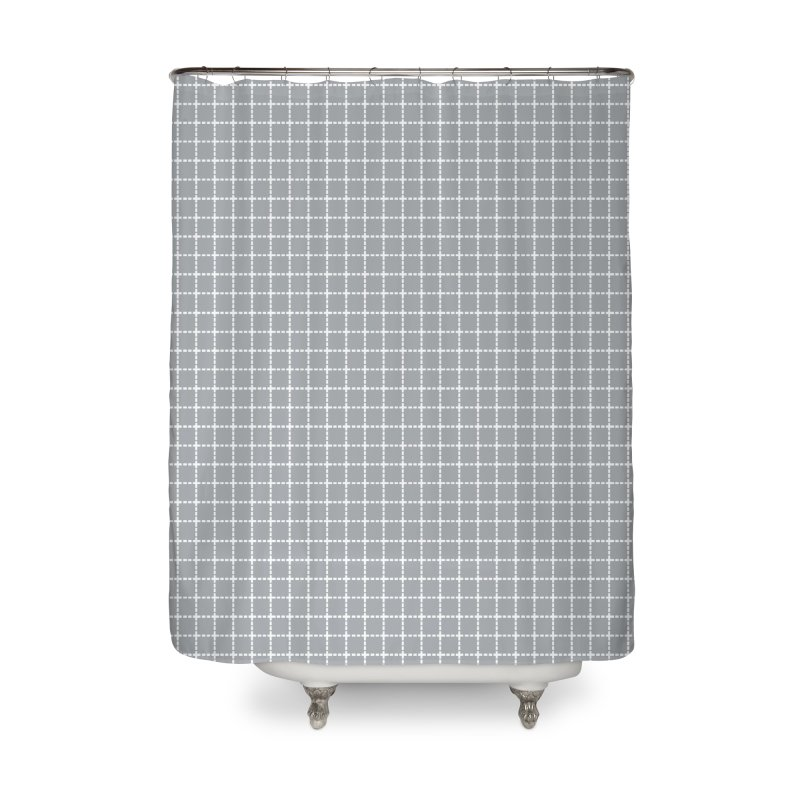 Dotted Grid Grey Home Shower Curtain by Project M's Artist Shop