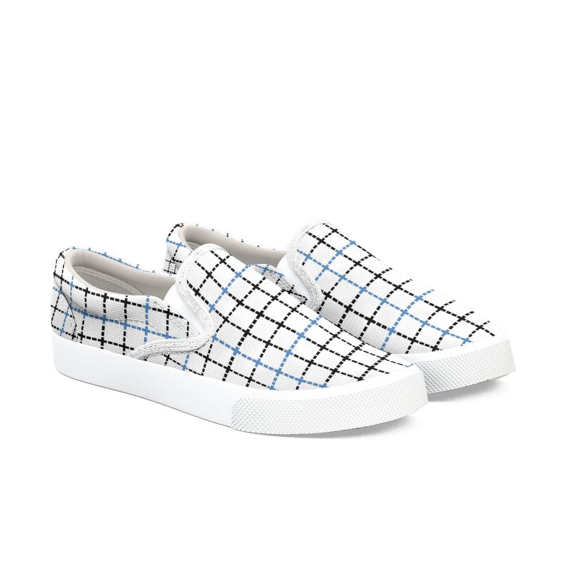 Dotted Grid Weave Blue Black Women's Slip-On Shoes by Project M's Artist Shop