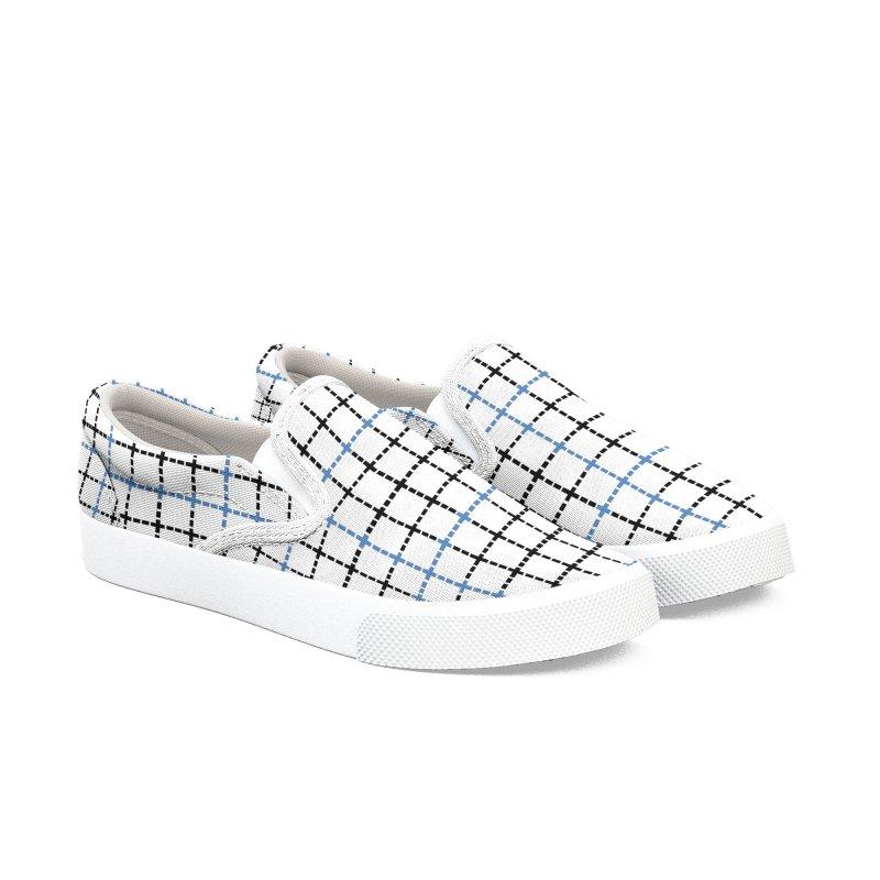 Dotted Grid Weave Blue Black Men's Slip-On Shoes by Project M's Artist Shop