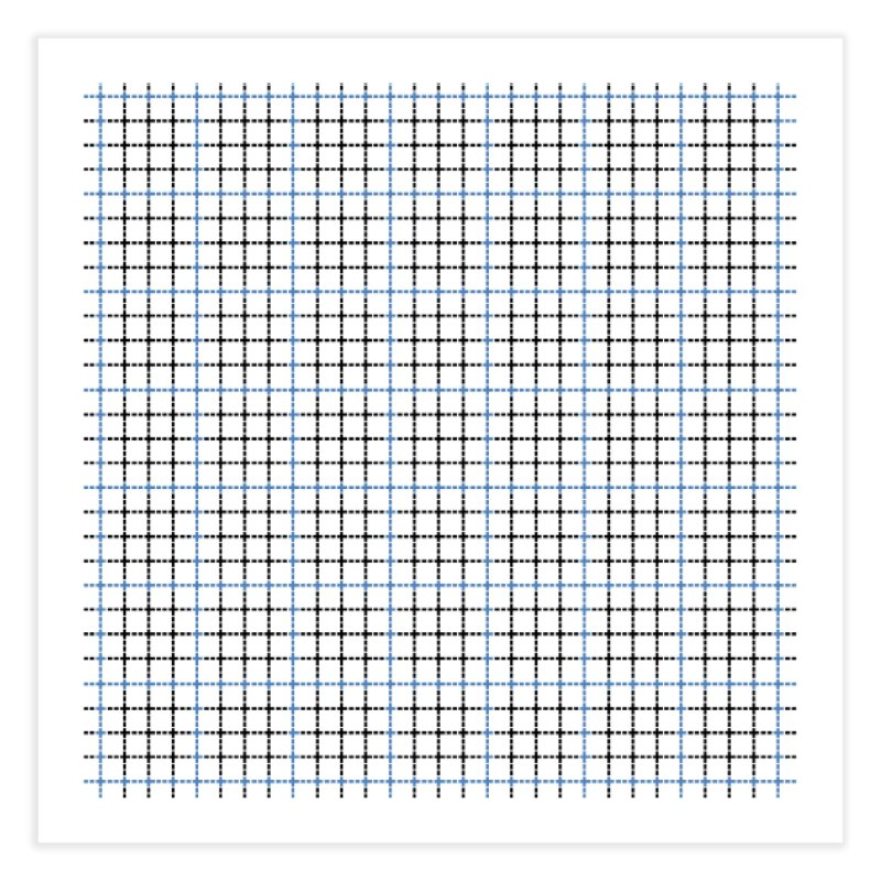Dotted Grid Weave Blue Black Home Fine Art Print by Project M's Artist Shop
