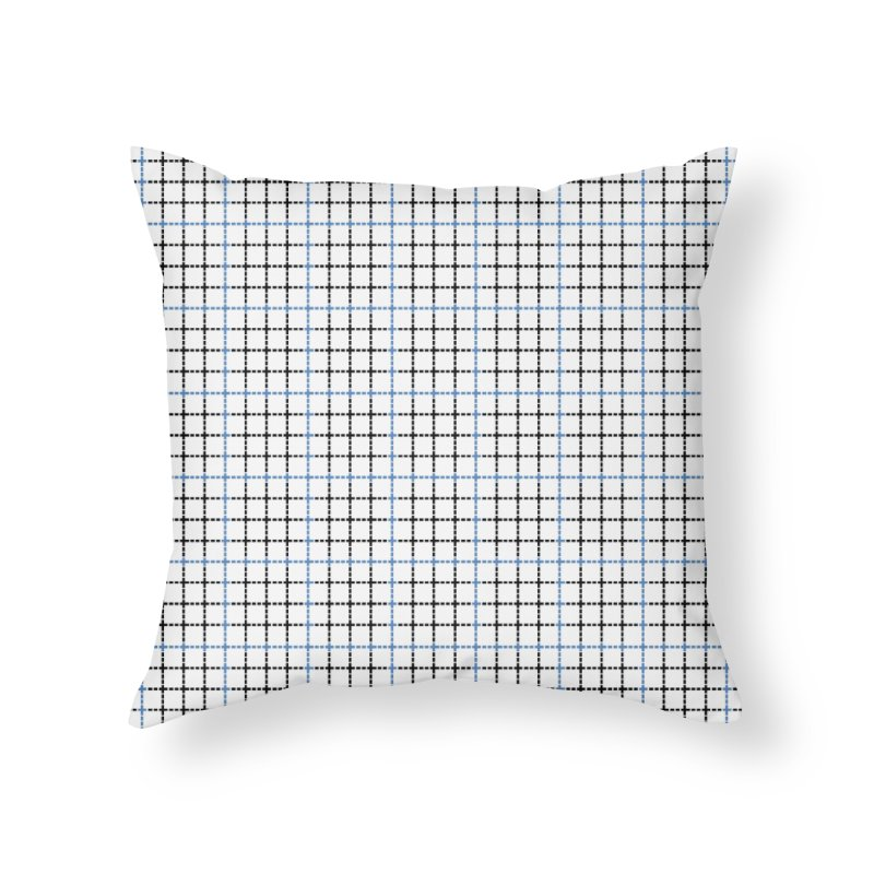 Dotted Grid Weave Blue Black Home Throw Pillow by Project M's Artist Shop