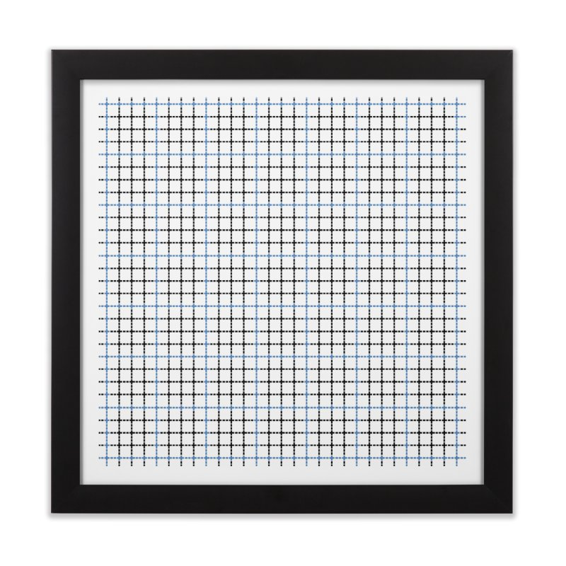Dotted Grid Weave Blue Black Home Framed Fine Art Print by Project M's Artist Shop