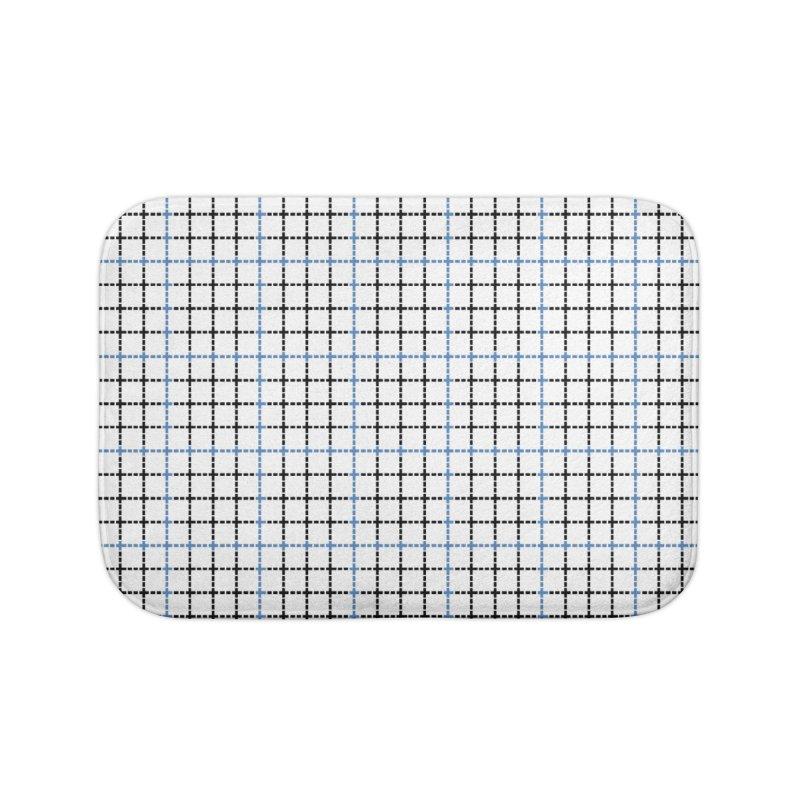 Dotted Grid Weave Blue Black Home Bath Mat by Project M's Artist Shop