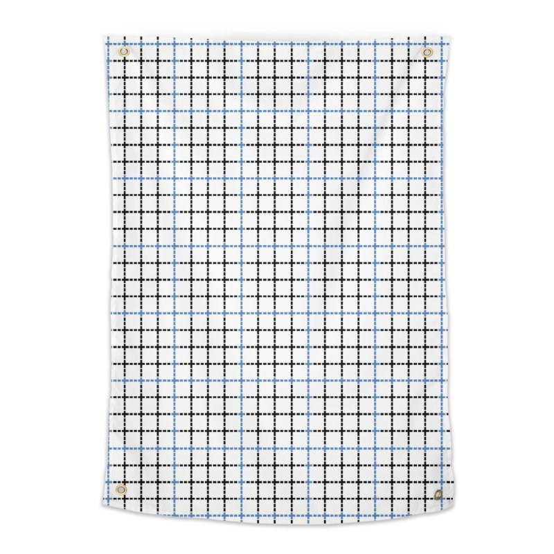 Dotted Grid Weave Blue Black Home Tapestry by Project M's Artist Shop
