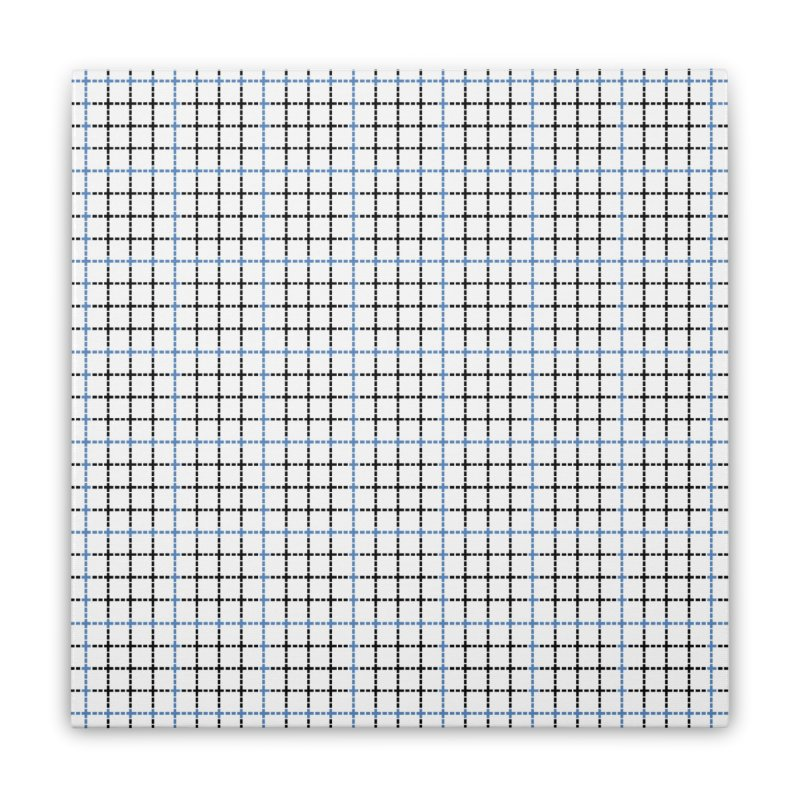Dotted Grid Weave Blue Black Home Stretched Canvas by Project M's Artist Shop