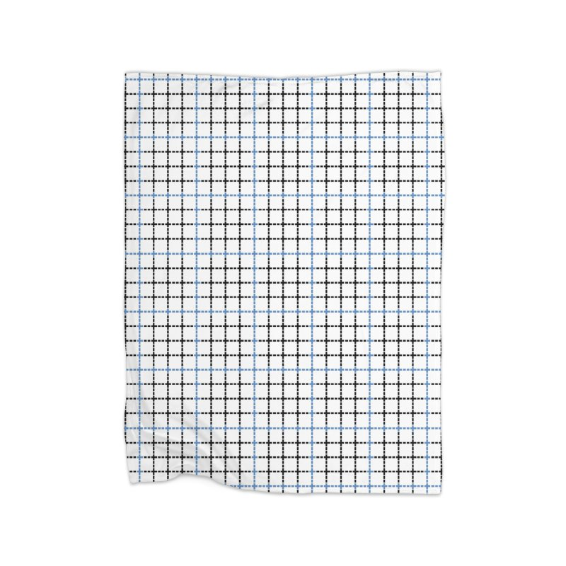 Dotted Grid Weave Blue Black Home Blanket by Project M's Artist Shop
