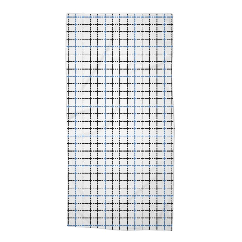 Dotted Grid Weave Blue Black Accessories Beach Towel by Project M's Artist Shop