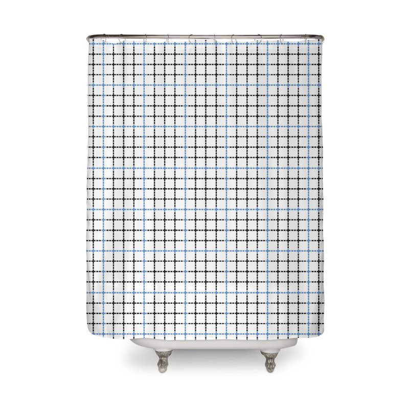 Dotted Grid Weave Blue Black Home Shower Curtain by Project M's Artist Shop
