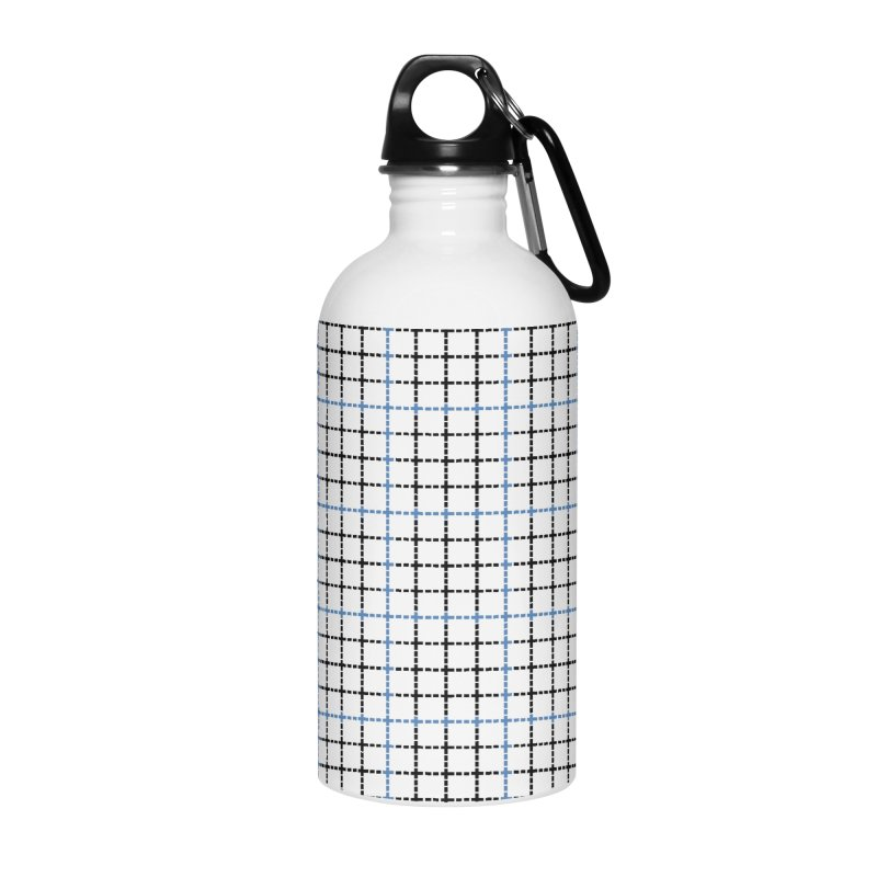 Dotted Grid Weave Blue Black Accessories Water Bottle by Project M's Artist Shop