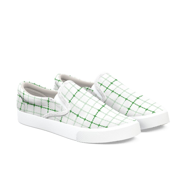 Dotted Grid Weave Green on White Women's Slip-On Shoes by Project M's Artist Shop