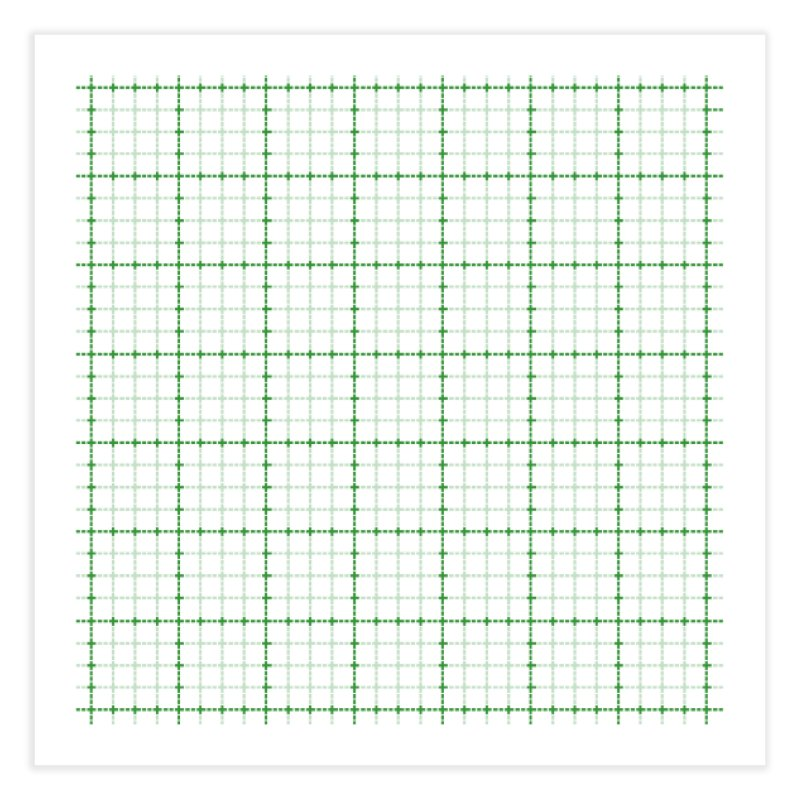 Dotted Grid Weave Green on White Home Fine Art Print by Project M's Artist Shop
