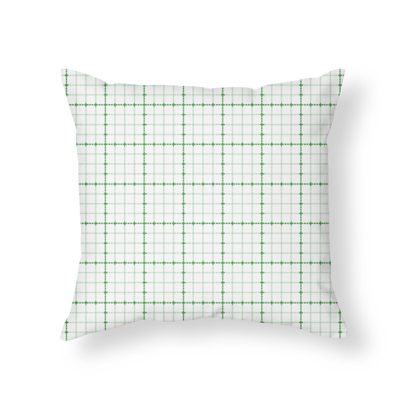Dotted Grid Weave Green on White Home Throw Pillow by Project M's Artist Shop