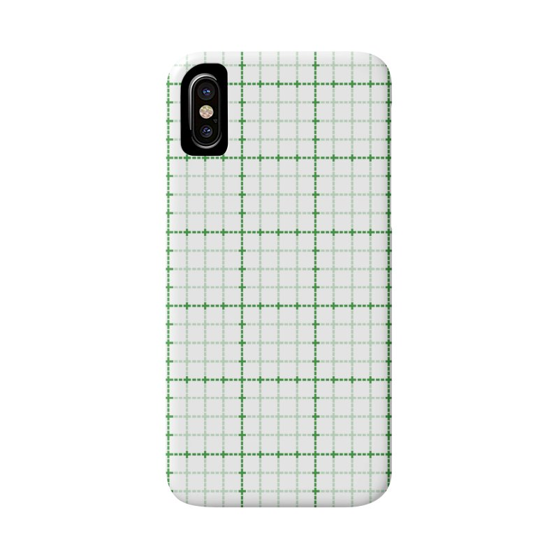Dotted Grid Weave Green on White Accessories Phone Case by Project M's Artist Shop