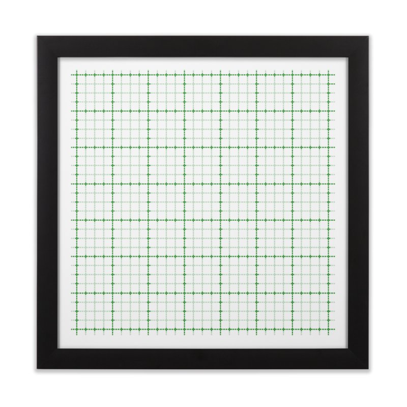 Dotted Grid Weave Green on White Home Framed Fine Art Print by Project M's Artist Shop