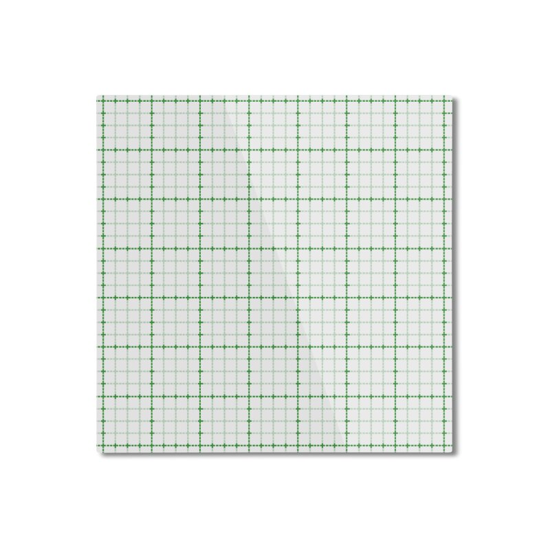 Dotted Grid Weave Green on White Home Mounted Aluminum Print by Project M's Artist Shop