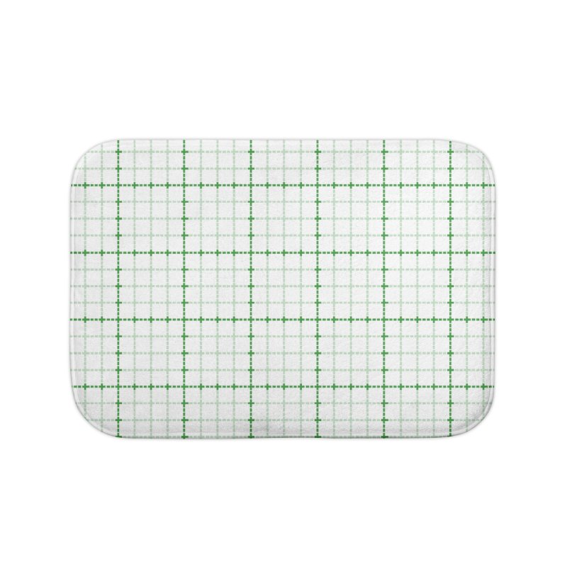 Dotted Grid Weave Green on White Home Bath Mat by Project M's Artist Shop
