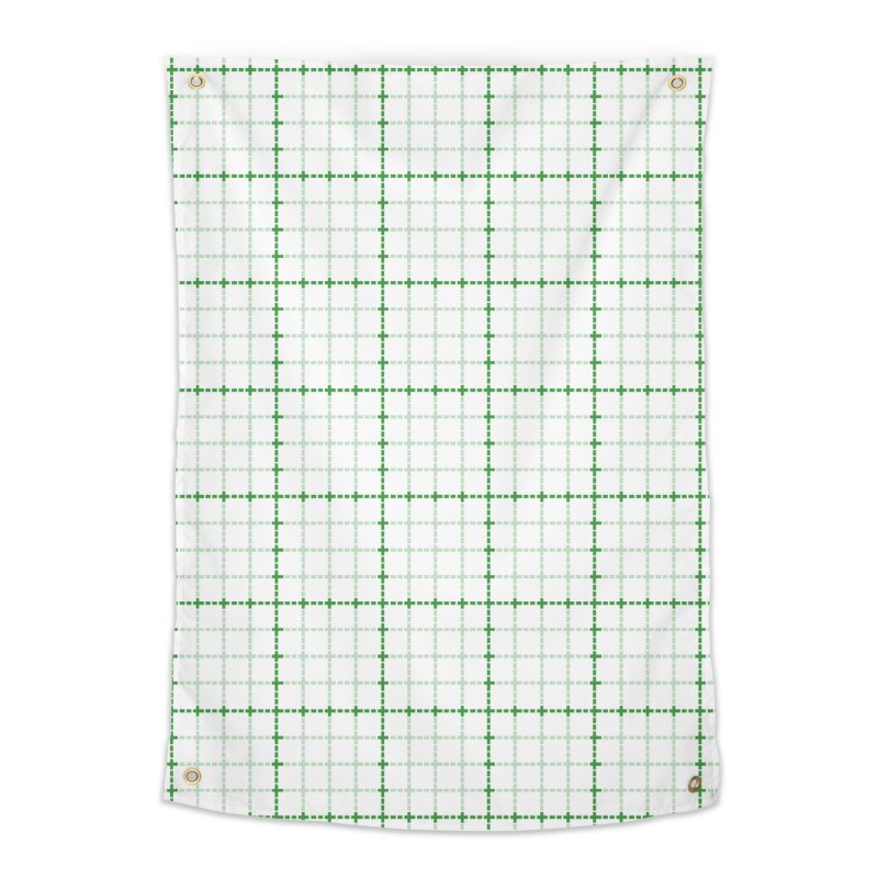Dotted Grid Weave Green on White Home Tapestry by Project M's Artist Shop