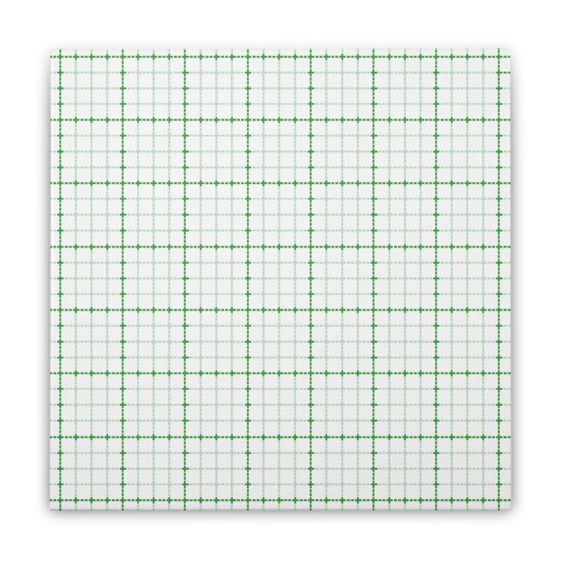 Dotted Grid Weave Green on White Home Stretched Canvas by Project M's Artist Shop