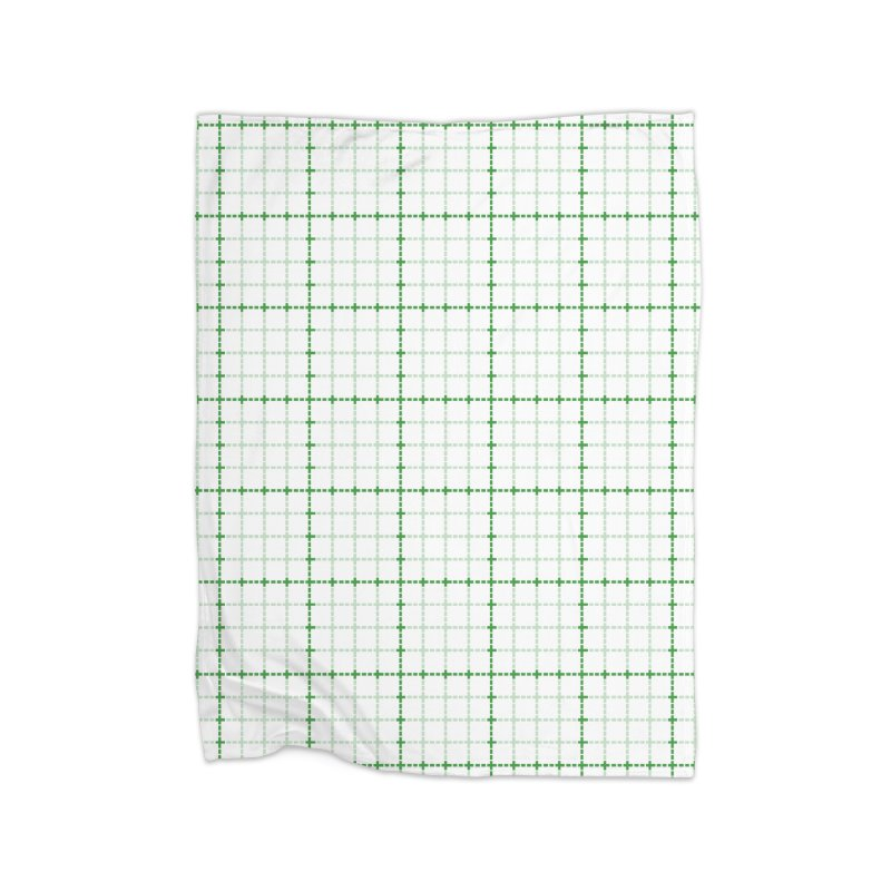 Dotted Grid Weave Green on White Home Blanket by Project M's Artist Shop