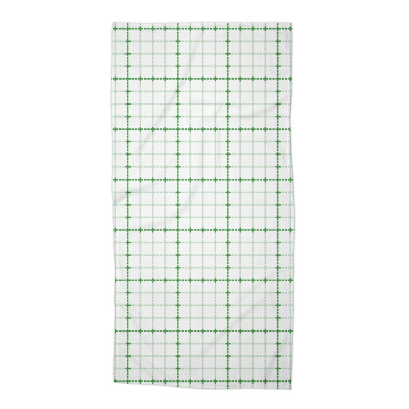 Dotted Grid Weave Green on White Accessories Beach Towel by Project M's Artist Shop