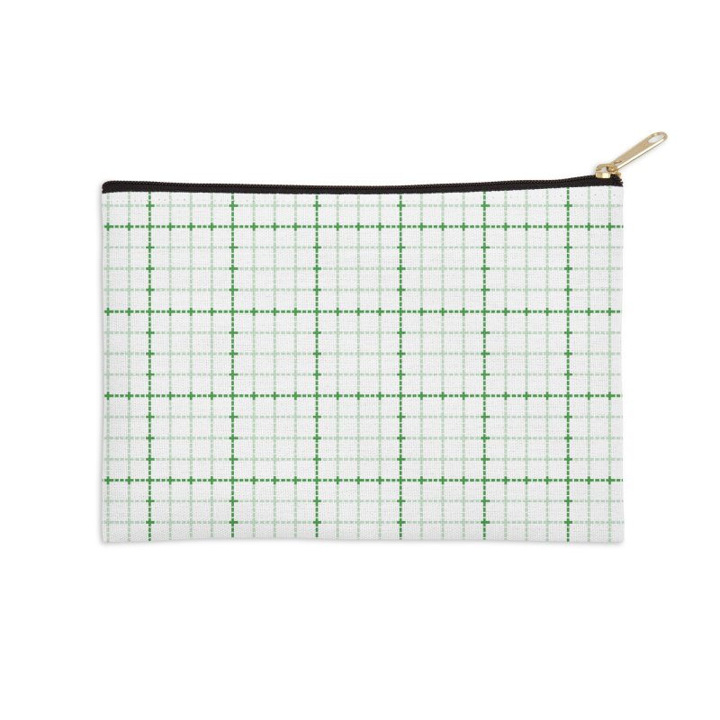Dotted Grid Weave Green on White Accessories Zip Pouch by Project M's Artist Shop