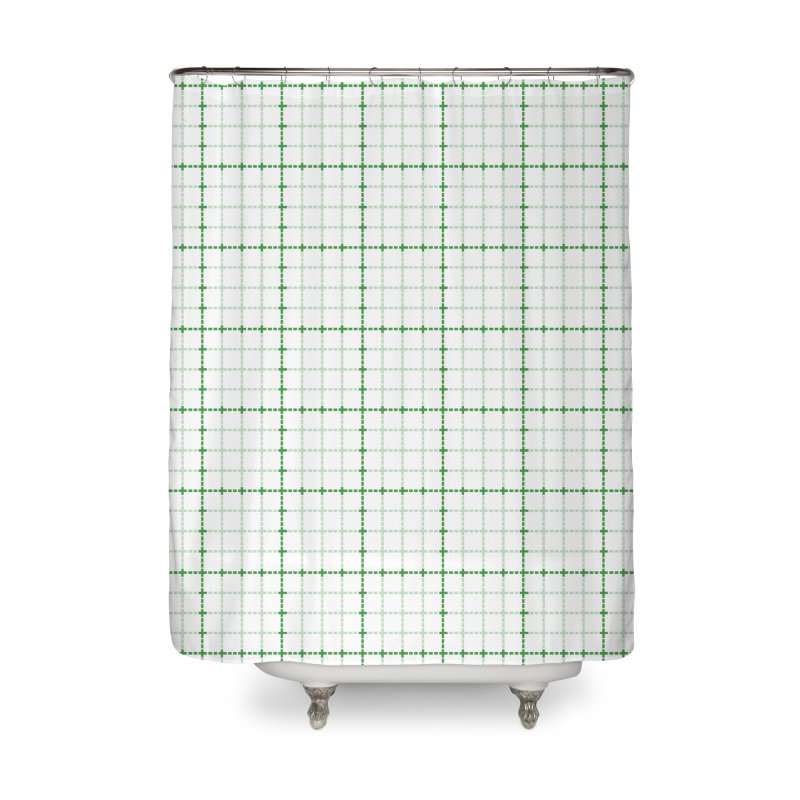 Dotted Grid Weave Green on White Home Shower Curtain by Project M's Artist Shop