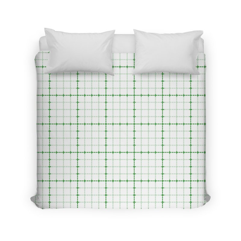 Dotted Grid Weave Green on White Home Duvet by Project M's Artist Shop