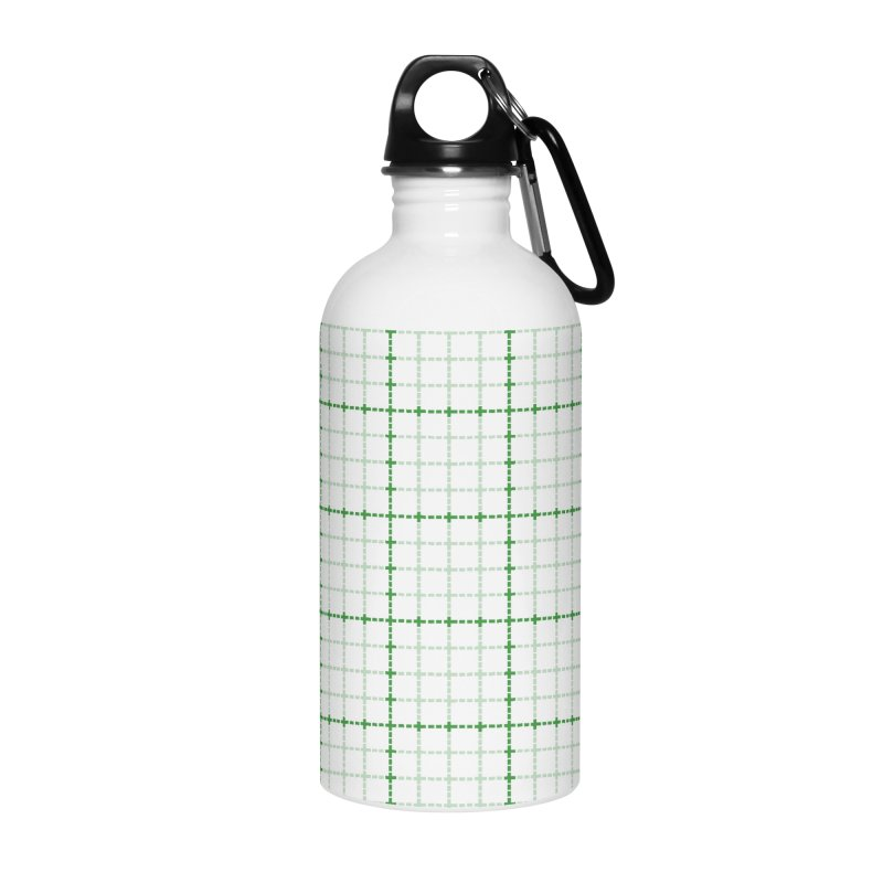 Dotted Grid Weave Green on White Accessories Water Bottle by Project M's Artist Shop