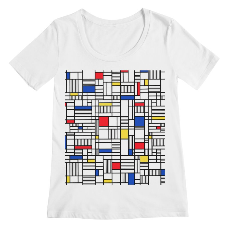 Map Lines Mond Women's Regular Scoop Neck by Project M's Artist Shop