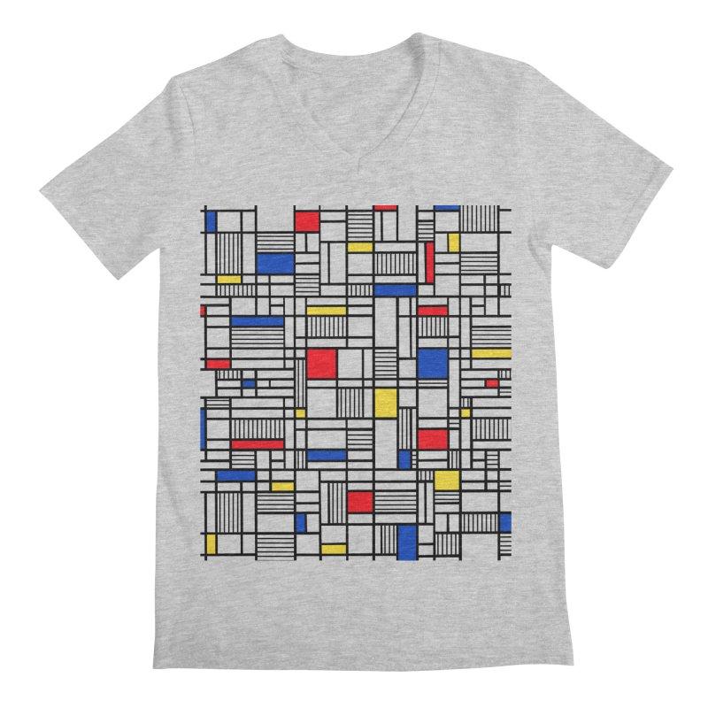 Map Lines Mond Men's Regular V-Neck by Project M's Artist Shop