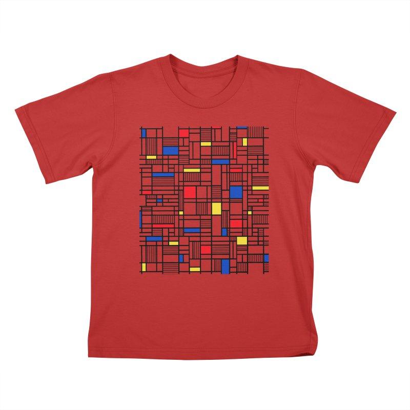 Map Lines Mond Kids T-Shirt by Project M's Artist Shop