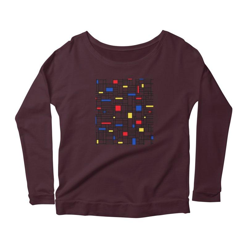 Map Lines Mond Women's Scoop Neck Longsleeve T-Shirt by Project M's Artist Shop