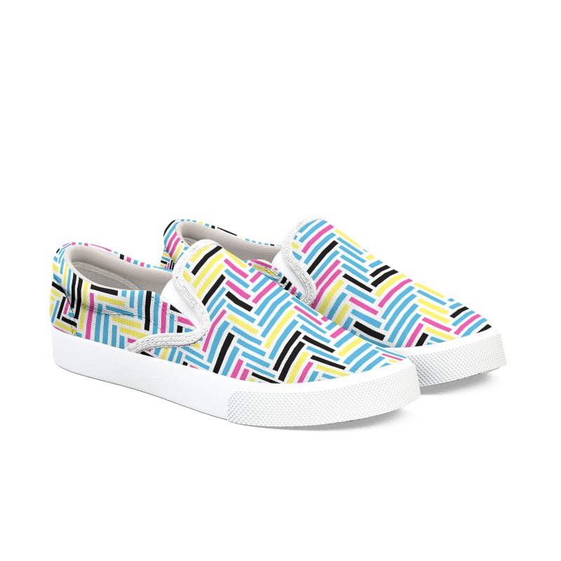 Herringbone 45 CMYK Women's Slip-On Shoes by Project M's Artist Shop
