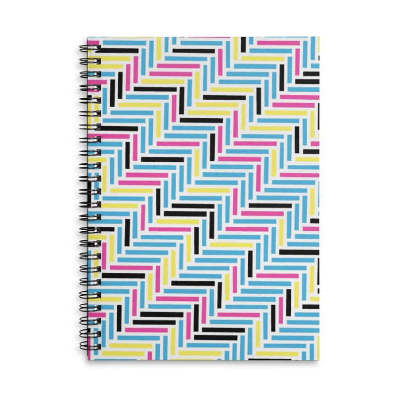 Herringbone 45 CMYK Accessories Lined Spiral Notebook by Project M's Artist Shop