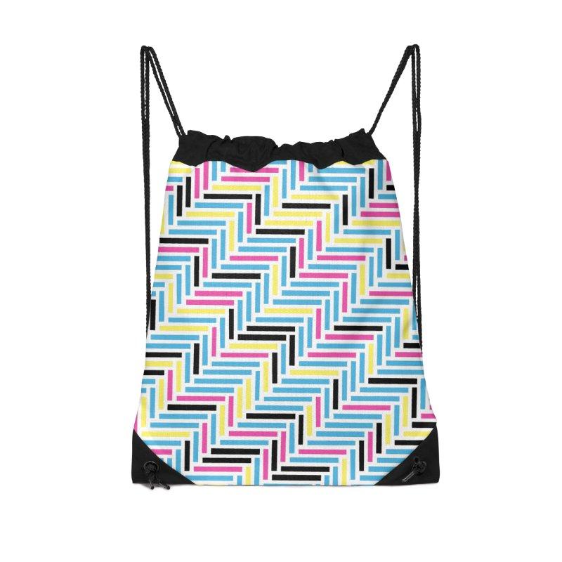Herringbone 45 CMYK Accessories Drawstring Bag Bag by Project M's Artist Shop