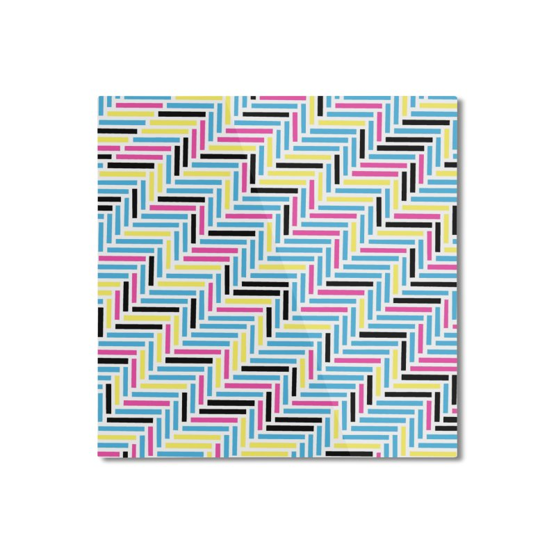 Herringbone 45 CMYK Home Mounted Aluminum Print by Project M's Artist Shop