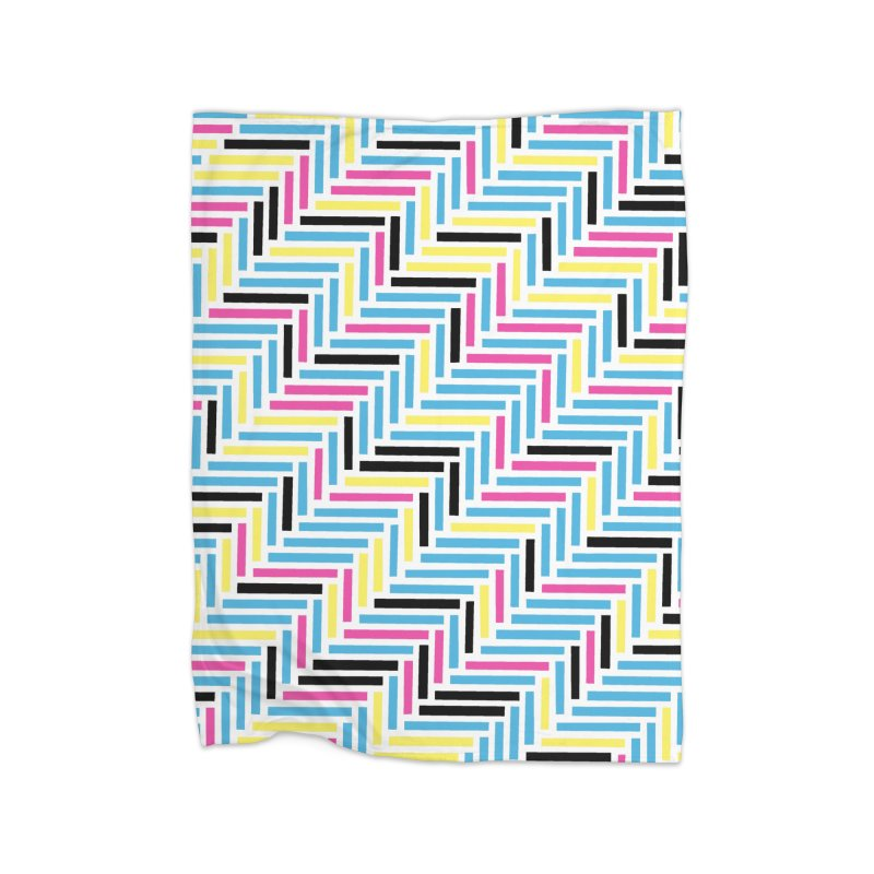 Herringbone 45 CMYK Home Fleece Blanket Blanket by Project M's Artist Shop