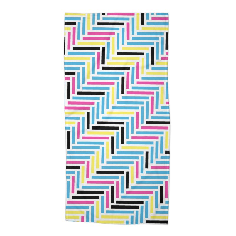 Herringbone 45 CMYK Accessories Beach Towel by Project M's Artist Shop