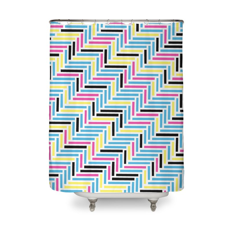 Herringbone 45 CMYK Home Shower Curtain by Project M's Artist Shop