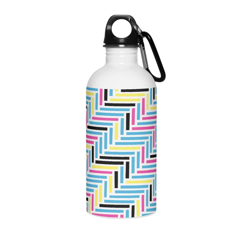 Herringbone 45 CMYK Accessories Water Bottle by Project M's Artist Shop